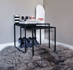 Black nesting steel cubes. Minimal, contemporary side tables, end tables, coffee tables, bedside tables.