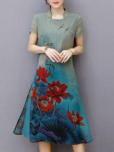 Elegant Short Sleeve Imprimir Loose Plate Buckle Mulheres Vestidos