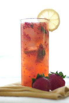 Strawberry Smash Cocktail: Vodka, Strawberries, Basil, Lemon, Honey, Club Soda