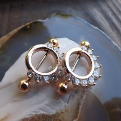 Nipple Rings Nipple Jewelry Pair of 14G Gold Elegant Opal with Turquoise Stone Nipple Barbells Nipple Piercing