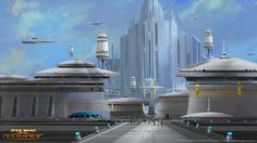 SWTOR Concept Art - Alderaan // The village surrounding Castle Organa is a bustling center of activity for many of Alderaan's citizens.