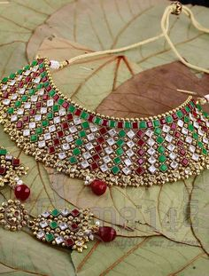 Bridal Necklace Set with Antique Red and Green Stones