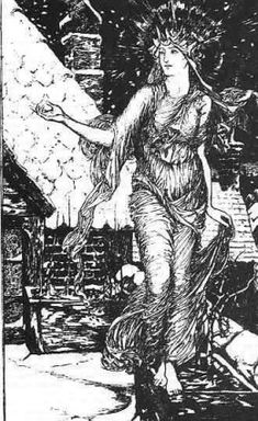 "An old drawing of Perchta as White Goddess. From ""The Lost Female Figures of Christmas - Part II,"" click the image to read."