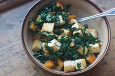 Kale, Tofu, and Butternut Squash Salad with Miso-Soy Dressing (Wanderlust and Food Stuff)