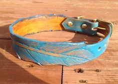 Turquoise Feather Hand Tooled Leather Dog Collar, Amish Leather Gone Wild Pet Products