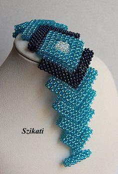 FREE SHIPPING Elegant Teal Seed Bead Cuff Bracelet Art by Szikati
