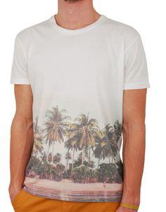 T-shirt blanc imprimé palmiers Lokart