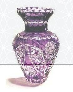 Vase - Beautiful crystal vase in Purple Lilac Gem with intricate cutting work. Made in the fine tradition of the best Polish Crystal Cutters. Purple Love, Purple Lilac, All Things Purple, Purple Glass, Shades Of Purple, Purple Stuff, Crystal Glassware, Crystal Vase, Art Nouveau