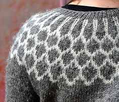 The Iðunn pattern is worked top-down, a method I truly love for sweaters, it is shaped in the back below the stranded pattern with short rows for a more flattering fit, the yoke pattern is quite short (very important for those of us with ample upper front sides) and as an option it contains short-row elbows. The elbow idea came to me after endless mending of sweater elbows -- in fact it's very logical that the elbows are the weak point of the sweater -- arms bend, elbows stick out, fabric…