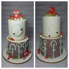 Both sides of my Woodland Themed Baby Shower Cake