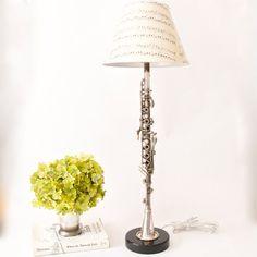 Vintage metal clarinet lamp