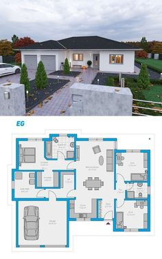 Plana 150 - schlüsselfertiges Massivhaus Plana 150 - casa sólida chave na mão # ingutenwänden bonitas Three Bedroom House Plan, Family House Plans, New House Plans, Dream House Plans, Modern House Plans, Small House Plans, Modern House Design, House Floor Plans, Sims House Plans