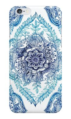"""""""Indian Ink - in blues"""" iPhone Cases & Skins by micklyn 