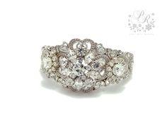 Wedding Bracelet Victorian Style Bridal Rhinestone & Clear Crystal Bangle Bridal Bracelet Wedding jewelry Wedding Accessory. $55.00, via Etsy.