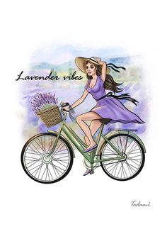 Lavender Print Provеnce Instant download Poster Fashion Illustration girl bike Inspiration Quote Wall Decor Provence Poster Lavender Vibes