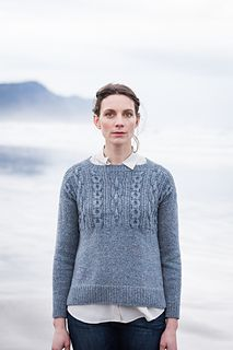 This pullover in Shelter honors every feature of the traditional gansey. Stout chain cables boldly mark the textured yoke both fore and aft. The gentlest of A-lines makes for an easy fit, and details like the split ribbed hem and decorative side seams make Caspian both eye catching and knitterly. The front and back are worked flat with modified drop shoulders; sleeves are knit in the round to the underarm and then finished with small caps and wide ribbed saddles that ensure a trim, smart…