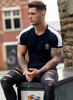 Gym King Longline Retro T-Shirt Navy