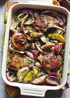 Description: Cider-roast pork cutlets with apple and fennel