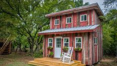 Rustic Little Red Hen Cabin - Dream Tiny Living Tiny Houses For Rent, Tiny House On Wheels, Baylor University, Waco Texas, Texas Usa, Lofts, Magnolia, Tiny House Rentals, Building A Tiny House