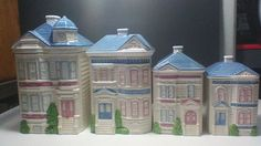 Vintage 1988 Victorian House Hearth & Home Designs 4 pc Canister Set