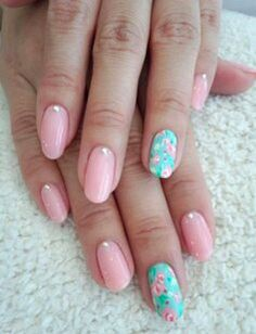 Pink and mint floral nails