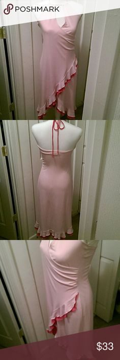 Hot 2-Tone Pink Gown EUC w/Adjustable Tie, Soft, Stretchy, Flows Freely. Frederick's of Hollywood Dresses Midi