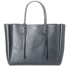 Lanvin Tote ($1,270) ❤ liked on Polyvore featuring bags, handbags, tote bags, anthracite, logo tote bags, blue tote handbags, blue handbags, studded tote bag and lanvin handbags