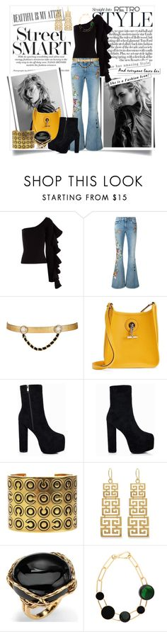 """Retro Inspired_A Little Flare"" by msmith801 ❤ liked on Polyvore featuring Beaufille, Gucci, Maison Mayle, Hermès, Chanel, Evie & Emma, Palm Beach Jewelry, Marni and Retrò"