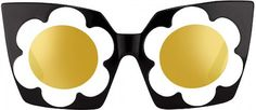 Markus Lupfer - Black and White Daisy Frame with Gold Mirror Lens Sunglasses Winter Sunglasses, Flower Sunglasses, Black Sunglasses, Cat Eye Sunglasses, Mirrored Sunglasses, Sunglasses 2016, Cool Glasses, Eye Glasses, Markus Lupfer