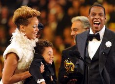Rihanna, Juelz Knowles And Jay-Z at the 52nd GRAMMY Awards