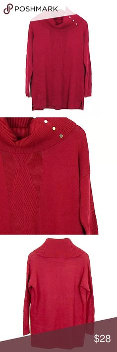 """WHBM Red Tunic Sweater Cowl Neck Sz S Wool Blend Brand: White House Black Market Style:  Cowl neck tunic sweater, 3 gold buttons for collar detail Size:  S Color/Pattern: red  Material:  17% cotton, 57% modal, 19% nylon, 7% wool Measurements:  -Across under arm: 23"""" -Shoulder to hem: 29"""" Care Instructions: Hand wash  Condition: No flaws. See pictures for details. White House Black Market Sweaters Cowl & Turtlenecks"""