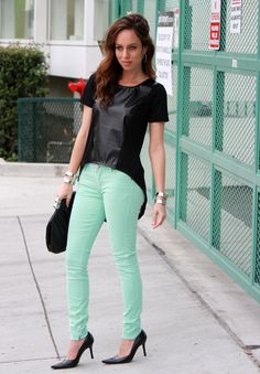 high-low leather top + mint jeans