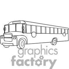 Black and white outline of a school bus