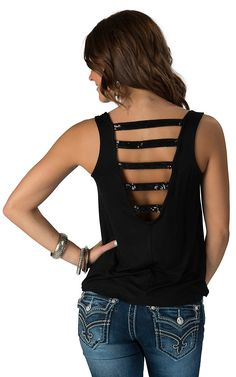 Panhandle Slim Women's Black with Sequin Pocket and Ladder Back Tank Fashion Top