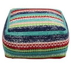 Stripe Pouf - Red/Teal/Blue