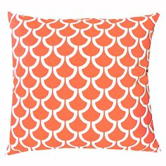 Cotton pillow with a tangerine scallop motif.  Product: PillowConstruction Material: Cotton cover and polyester ...