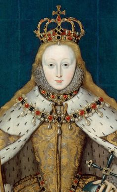 Elizabeth I in her coronation robes, patterned with Tudor roses and trimmed with ermine(detail)