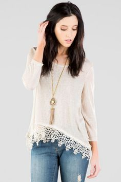 Under $40! Neutral knit tee with crochet trim.....perfect comfy chic weekend outfit!