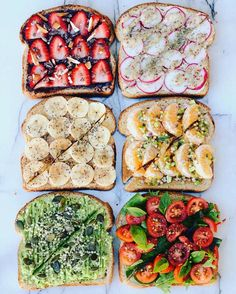 """thrivingonplants: """" Toast party! ✨ ✖️Coco2 spread (from my @goodnessmebox), strawberries , cacao nibs, almonds ✖️Hummus, radish, mayo + whole grain mustard, herbs ✖️PB, banana, cinnamon, chia seeds ✖️Mandarin, passionfruit, pistachios,... - Tap the pin if you love super heroes too! Cause guess what? you will LOVE these super hero fitness shirts!"""