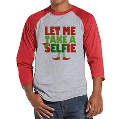 Let Me Take a Selfie - Men's Christmas Top - Men's Baseball Tee - Red Raglan Shirt - Gift For Him - Christmas Elf - Holiday Gift Idea - 7 ate 9 Apparel
