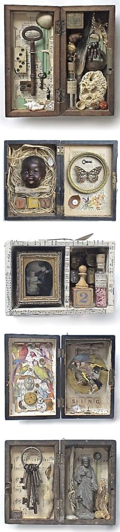 assemblage art by Mike Bennion--Try making shadow boxes revolving around a deeper theme that is important to the student--try in altoid tins perhaps?