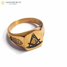 This Is Truly The Best Designed Ring Of Our Collection. Suits Perfectly For Gents For Everyday Use. Buy Classic Design Gold Plated Masonic Ring at masonicbuys.com! Freemason Ring, Masonic Jewelry, Masonic Lodge, Rings Online, 316l Stainless Steel, Plating, Rings For Men, Classic, Gold