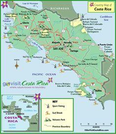 Mapa del pais de Costa Rica