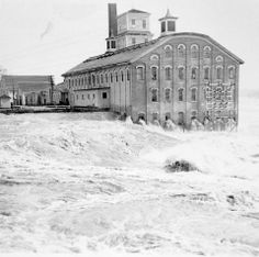 1935 flood of the Androscoggin River at Topsham Mill , Maine. This is where the current Seadog restaurant is today.
