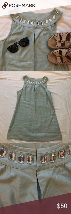 Joie Turquoise tunic Excellent condition Joie Turquoise tunic with a jeweled neckline. Size S Joie Tops Tunics