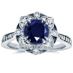 Antique Floral Sapphire and Diamond Engagement Ring 1 1/2 Carat (ctw) in 14k White Gold - Kobelli