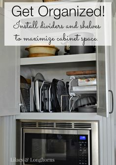 Simple things you can do to maximize your kitchen cabinet space. Maximizing Kitchen Cabinet Space {Get Organized!}   http://www.lilacsandlonghorns.com/maximizing-kitchen-cabinet-space.html