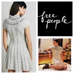 """Free People Nordic Nights Sweater Dress.  NWT. Free People Nordic Nights Sweater Dress, 49% wool, 25% acrylic, 20% nylon, 4% other, 2% alpaca, washable, 19"""" armpit to armpit (38"""" all around), 35"""" length, cable knit fit in flare sweater dress with a high round neck features subtle sequins and metallic accents, pullover style, measurements are approx.  ...No Trades... Free People Dresses Mini"""