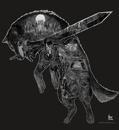 The Great Grey Wolf Sif by andrerb.deviantart.com on @DeviantArt Dark Souls Artorias, Soul Saga, Dark Souls 3, Fantasy Sword, Fantasy Dragon, Wolf, Body Art Tattoos, Game Art, Fantastic Art