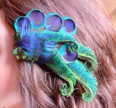 Peacock Hair Piece- Easy to Wear-. $36.00, via Etsy.